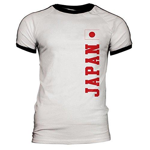 World Cup Japan Mens Soccer Jersey T-Shirt Weiß-schwarzes LG