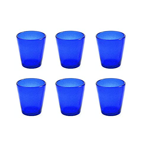Villa d'Este Home  Cancun Wasserglass aus mundgeblasenem Glas, blau, 6 Stück -