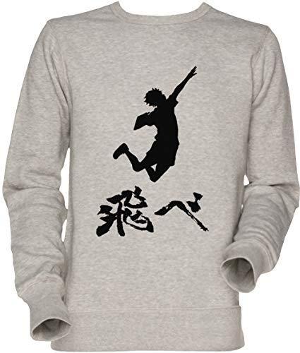Vendax Haikyuu Hinata Tobe (Fly) Weiss Unisex Herren Damen Jumper Sweatshirt Grau Men's Women's Jumper Grey