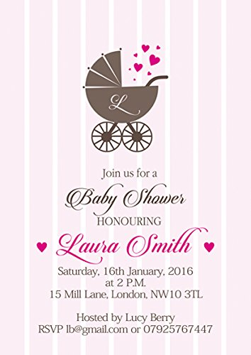 e Baby Dusche Einladungen oder Dankeskarten with Pink envelopes ()
