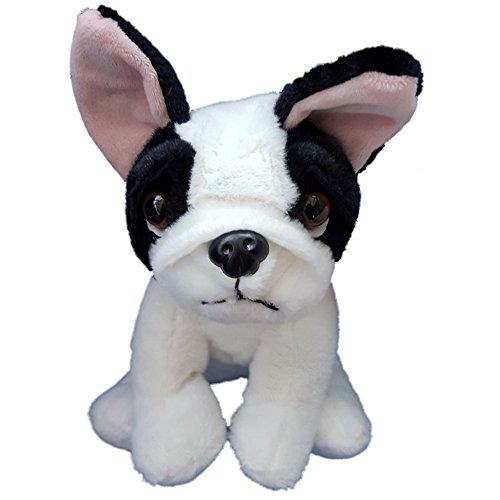 Juguete de felpa blando Bulldog Francés blanco y negro