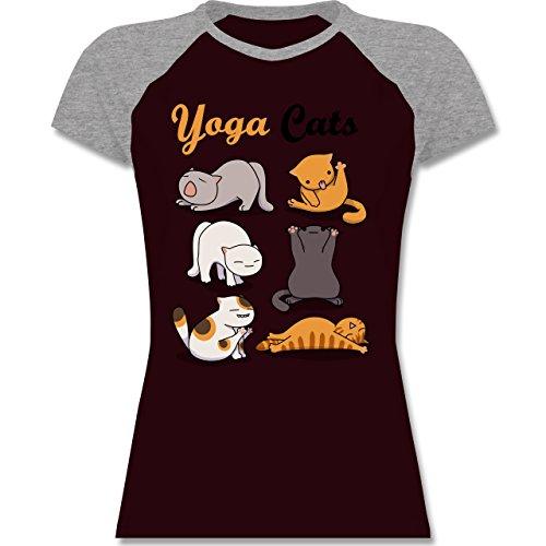 Statement Shirts - Yoga Cats - zweifarbiges Baseballshirt / Raglan T-Shirt für Damen Burgundrot/Grau meliert