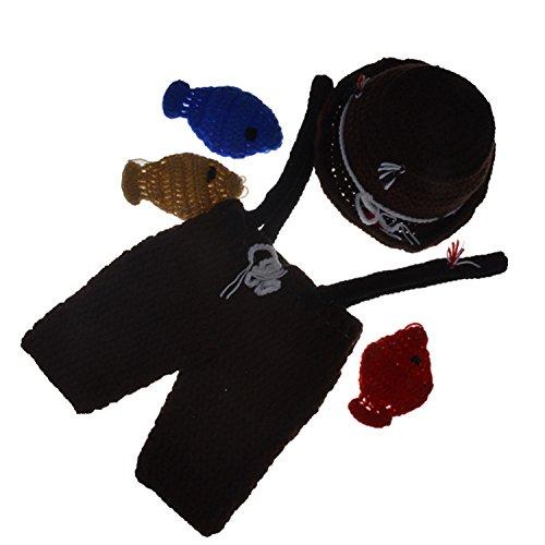 UGUAX Baby Fotografie Requisiten Neugeborene Crochet Kostüm Angler Kostüm Outfit Fisch Hat Hose -
