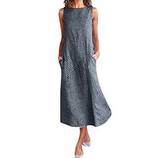 LSAltd Sommer Frauen New Classic Vintage Striped Print Ärmelloses Rundhalsausschnitt Taschen Leinen A-Line Langes Kleid