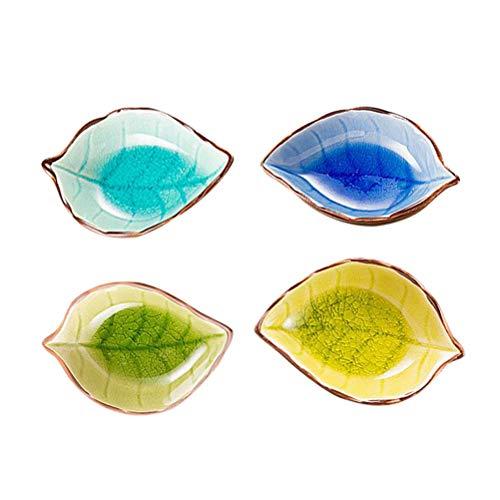 BESTONZON Kreative Handwerk Blätter Keramikplatte Japanische Sushi Gerichte Snacks Küchenessig Würzsauce (Zufälliges Muster und Farbe)