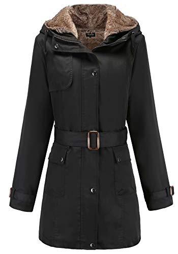 Damen Warm Trenchcoat Mit Abnehmbaren Liner Lang Daunen Mantel Kunst Fell Winter Jacke Schwarz DE:36 / US:XS