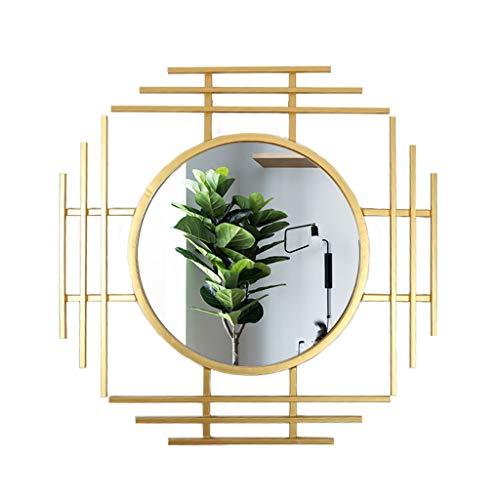 Weq Restaurant-Sonnenbrille-Kamin-Spiegel-Wohnzimmer-hängender Spiegel-Hintergrund-Wand-hängender Eingangsspiegel (Color : Gold, Size : 71.5 * 71.5CM)