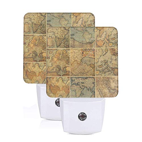 Collage With Antique Old World Maps Vintage Ancient Collection Of Civilization Auto Sensor LED Dusk to Dawn Night Light Set Of 2 White -