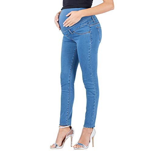 Milano basic - jeans premaman basico, super elastico e comodo, vestibilità skinny, lavaggio basic, colore denim e nero - made in italy (l, chiaro)