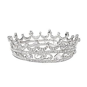 Frcolor Krone Diademe Tiara Barock Vintage Kristall Strass Prinzessinkrone Hochzeitskrone (Silber)