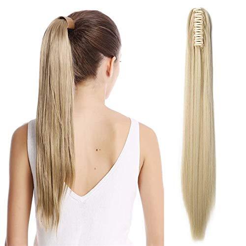 """TESS Pferdeschwanz Haarteil Ponytail Extensions Haarverlängerung Clip in Synthetik Haare für Zopf Haarteil Hair Extensions Glatt 21""""(53cm)-140g Blond"""