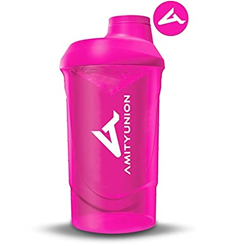 Amityunion Protein Shaker Pink Deluxe 800 ml – bottle leak-proof BPA Free with Sieve and Scale for Creamy Whey Protein Powder Shakes – Fitness