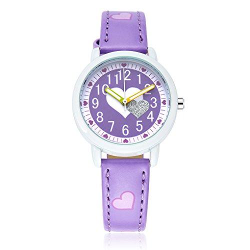 Nettes Liebes-Herz-Mädchen-Uhr-wasserdichte Kinder-Armbanduhr Kinder Leder Druck-Bügel-Handgelenk-Uhr-Karikatur-Timer Republe