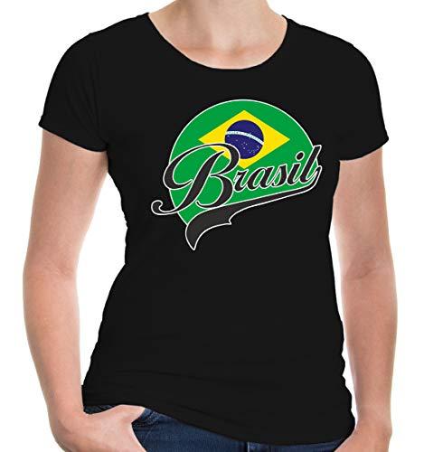 buXsbaum Damen Girlie T-Shirt Brasilien Logo | Brasil Brazil Amerika Ländershirt Fanshirt Flagge Trikot Reise | L, Schwarz -
