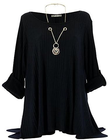 Charleselie94® - Tunique bijou longue laine hiver grande taille GABRIELLE noir NOIR - 50