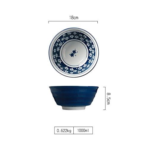 Yxsd Style Japonais et Grand Bol de Nouilles en céramique Bol de Riz Bleu 7 Pouces