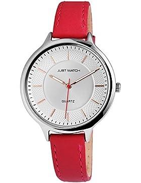 Just Watch Damen Armbanduhr JW11704 Lederband Analog Quarz Rot JW11704-RD