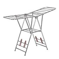 Homewares Winged Folding Clothes Airer Adjustable Clothes Dry Rail Hanger High Capacity Stainless Steel Stainless Steel