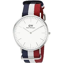 Daniel Wellington Cambridge Silver Men's Quartz Watch with White Dial Analogue Display and Multicolour Nylon Strap 0203DW