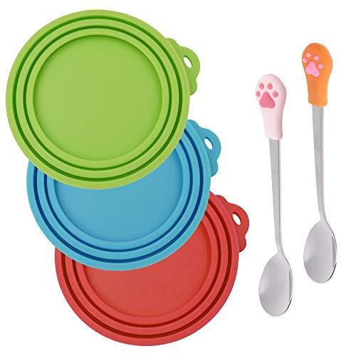 Senhai - 3 Piezas de Cubiertas de Silicona para latas de Mascotas y 2 cucharas para Mascotas, Tapa de Comida y Cuchara para Perros y Gatos, uno Cumple con Tres tamaños: Rojo, Verde, Azul Claro