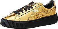 Le Puma Basket Platform sono un'edizione rivisitata, in chiave Fenty, delle classiche sneaker flat del marchio tedesco. La suola Ú rialzata, con scanalature che attingono proprio al progetto creato per Rihanna. La superficie metallizzata della tomai...