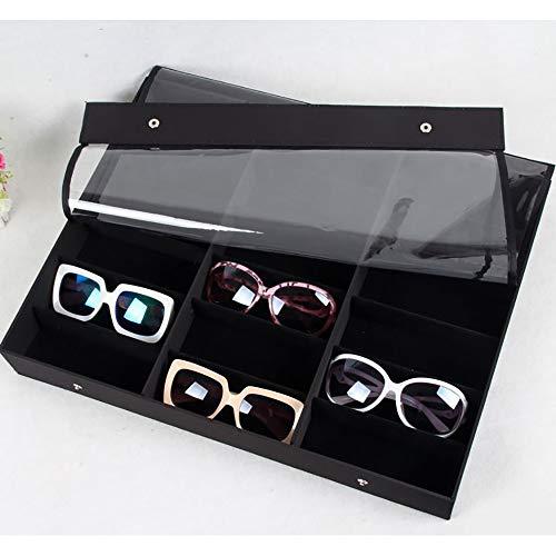 Mebeauty Brillenlagerung 18 Gläser Display Box Transparente Abdeckung Gläser Aufbewahrungsbox Sonnenbrillen Display Rack Sonnenbrille Brillenvitrine (Farbe : Schwarz)