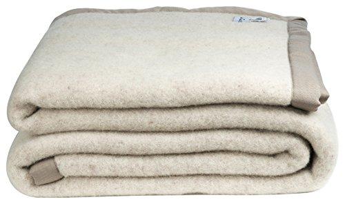 Zenoni & colombi coperta in pura lana vergine di lambswool -woolmark- nocciola melange (matrimoniale)