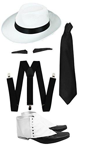 Gangster Kostüm der 1920er Reihe -Zubehör Set Deluxe -Schwarze Hosenträger + Schwarze Krawatte + Schwarzer Spiv/Schnurrbart + Gamaschen + Weißer-Hut