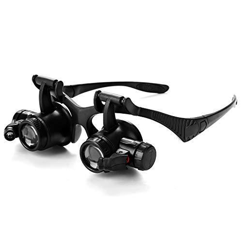 DWUN [24 Occhiali binoculari con Lente di ingrandimento 9892G con Cambio Multi-oculare della Lampada