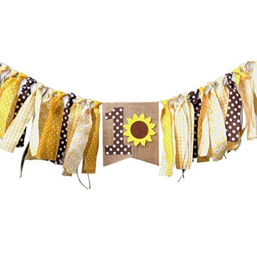 Amosfun One Banner Girlande ersten Geburtstag Sackleinen Shabby Chic Geburtstag Banner Foto Prop hessischen Banner