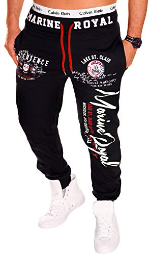 Herren Hose Jogginghose Trainingshose Fitnesshose 100% Baumwolle Sweatpants Sport Marine Royal H.512 (XXL Schwarz-Weiß)