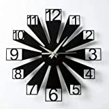 RSV Collection Wooden Wall Clock Black Stylish for Home Decor and Living Room Office