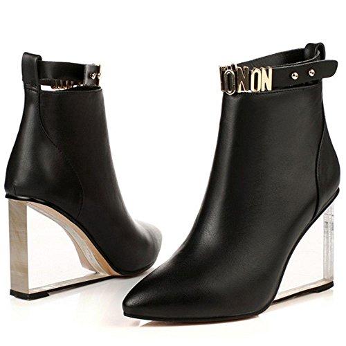 TAOFFEN Damen Mode Transparent Keilabsatz Kurze Stiefel Reißverschluss Knoechel Stiefel Schwarz