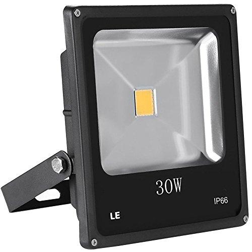 Objektiv-halogen-licht (LE 30W led Fluter, ersetzt 75W Hochdrucknatriumlampe, IP66wasserdicht, 1950lm warmweiß, LED Flutlicht Außenleuchten, schwarz Flutlichtstrahler Strahler led Scheinwerfer)