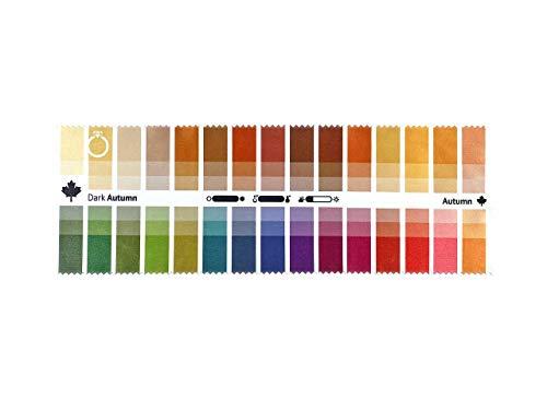 Abanico de telas de colores otoño fuerte (Dark Autumn) con 30 colores...
