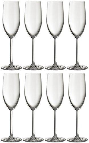Jamie Oliver Waves Flûte à champagne 8 x 250 ml/255,1 gram hautes et ultra contemporain Cristal Verre de Prosecco Lot de beaux Verres à pied long clair et moderne Verrerie pour occasions spéciales Mariage Intérieur/extérieur