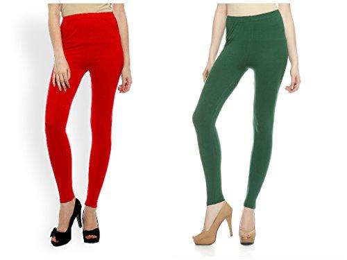 Kamaira Premium Ankle Length Leggings Combo Red & Pakistani Green