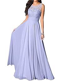 Vestido de novia Missdressy, vestido elegante, de gasa, cuello redondo, sin mangas, largo, vestido de noche, vestido de fiesta, vestido festivo,…