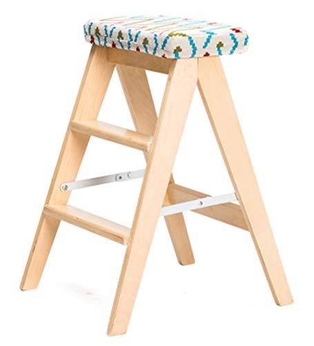 SWJ-Ladder Klappstufen Leiter Massivholz Multifunktions Kreativ Tritthocker Küche Haushalt Mit Kissen,Hoch 59cm,mehrere Farbe,D-43 * 48 * 59cm (3 Regal Bücherregal Birke)