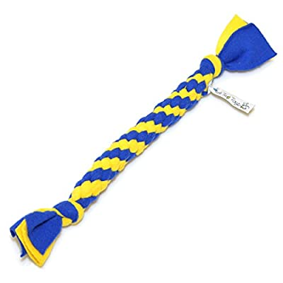 Fleece Handmade Rope Toy - Top Quality - Flexible - Durable - Easy Clean - Made in the EU - (approximately 14 inch) - Best Tug Toys