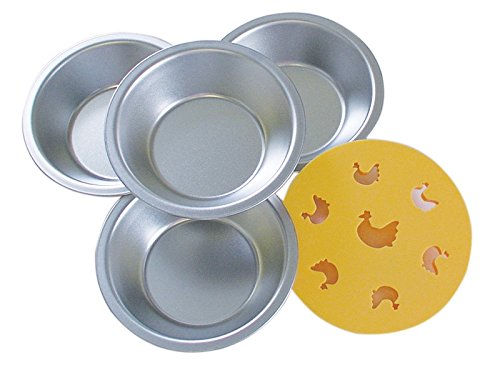 R&M International 2734 Mini Pie Pan and Decorative Chicken Topper Cutter Set, Includes 4 Pans and 1 Topper -