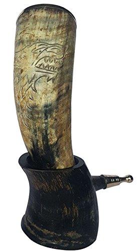 Natural Bull Horn XXL Grabado a mano Reina Sansa 'Reina en el norte' Bebida artesanal elaborada a mano (Multi)