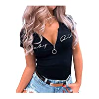 DUe Womens Embroidered Zip Up Blouse Letters Printed Slim T-Shirt Top Black S