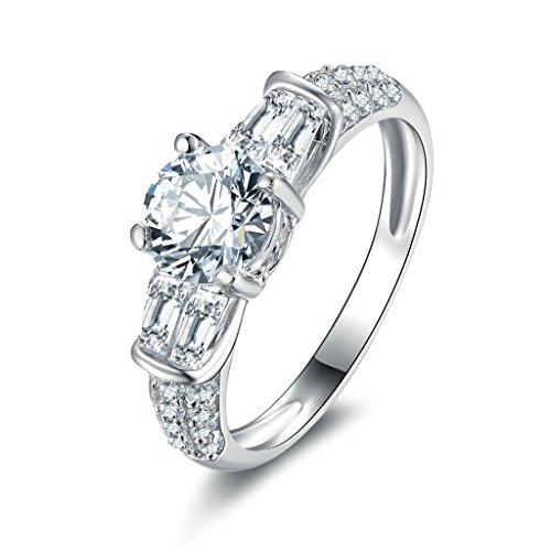 Daesar Silberring Damen Ring Silber Ehering für Damen Verlobungsring Benutzerdefinierte Ring Zirkonia Ring Runde Größe:54 (17.2) (Medusa Kostüm Bilder)