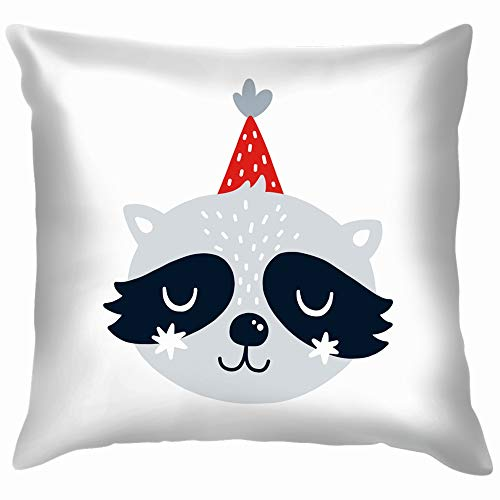 Raccoon Animal Clip Art Animals Wildlife Holidays Funny Square Throw Pillow Cases Cushion Cover for Bedroom Living Room Decorative 18X18 Inch ()