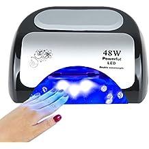 Vinteky® 48W LED Profesional Lámpara UV y LED para uñas, Secador de uñas con inducción automático con 3 temporizadores integrados y pantalla LED para manicura Shellac y en gel Nail Sensor automático Secador adecuada tanto para el uso doméstico como para el uso en salón de alta gama