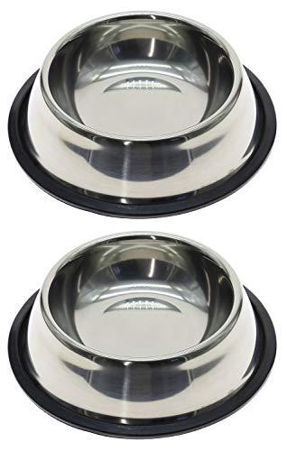 Ciotola Per Cani/Gatti In Acciaio Inox Con Base In Gomma Antiscivolo, Diametro 15/17/21 Cm, Ideale Per Cibo Od Acqua, confezione da 2, 15cm