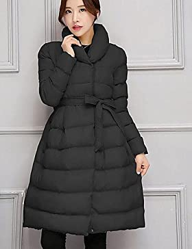 TT & ShangYi largo edredón de mujer, Abrigo Simple Casual liso algodón polipropileno manga larga, 2x l