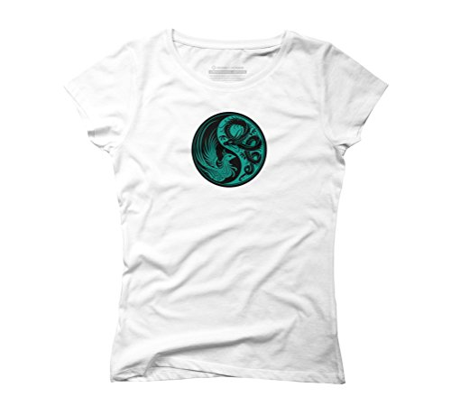 Teal Blue and Black Dragon Phoenix Yin Yang Women's Graphic T-Shirt - Design By Humans White