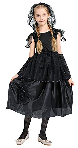 Kid Zombie Kostüm - Cloud Kids Mädchen Braut Kostüm Halloween Zombie-Braut Kostüm mit Schleier Karneval Cosplay Verkleidung Schwarz Körpergröße 110-120cm